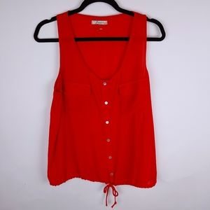 Sleeveless button up strawberry colored blouse Red